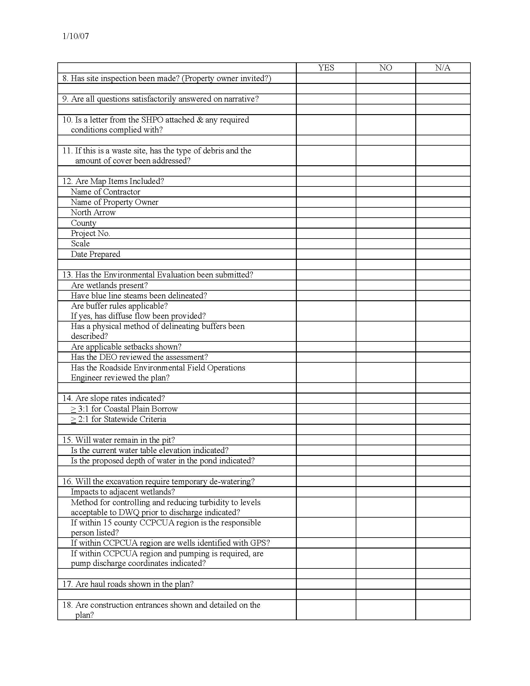 construction manual reference docs reclamation plan checklist for